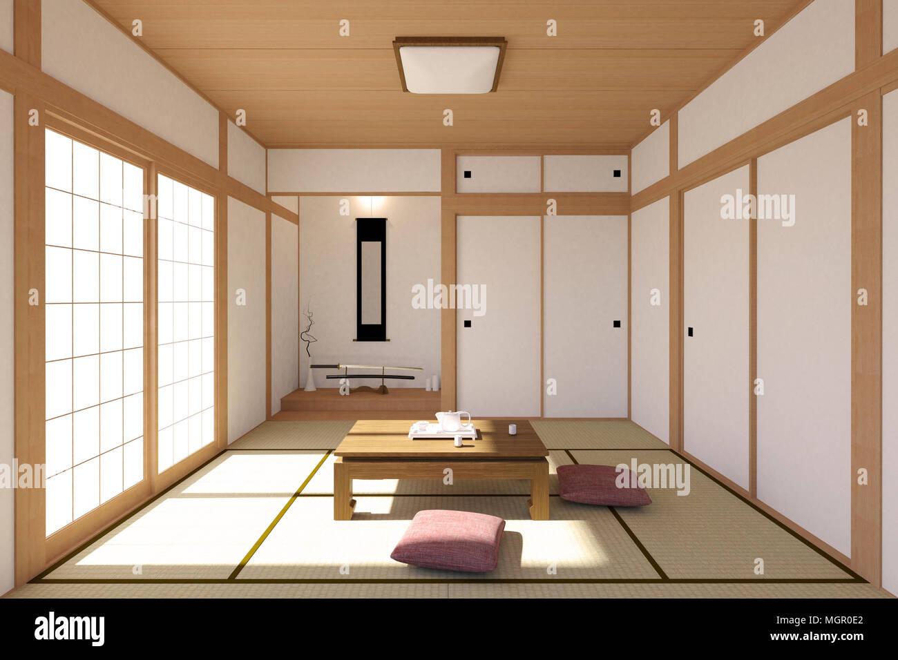 salon japonais traditionnels et dans l 39 int rieur minimaliste avec tatami japonais shoji et. Black Bedroom Furniture Sets. Home Design Ideas