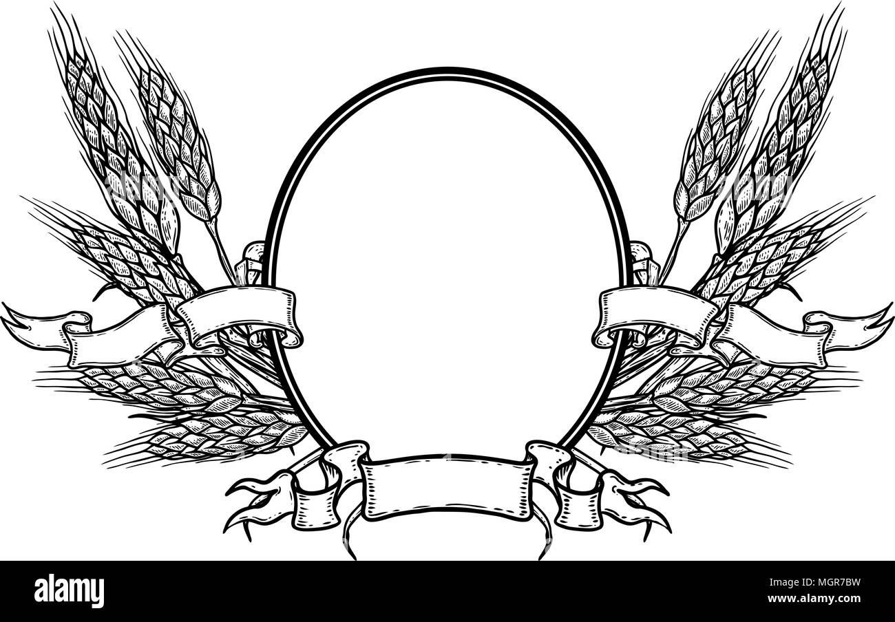 Cadre Ovale Avec Du Blé à La Main Modèle Détiquette De