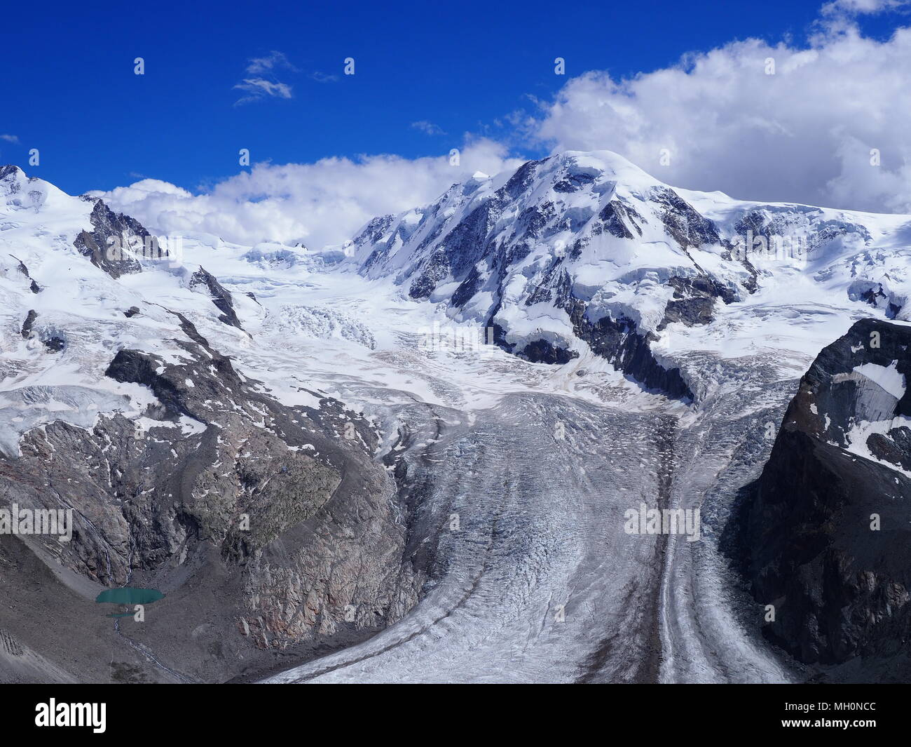 Paysages d'hiver pittoresque de Monte Rosa paysage de glaciers alpins et Dufourspitze en Suisse Photo Stock