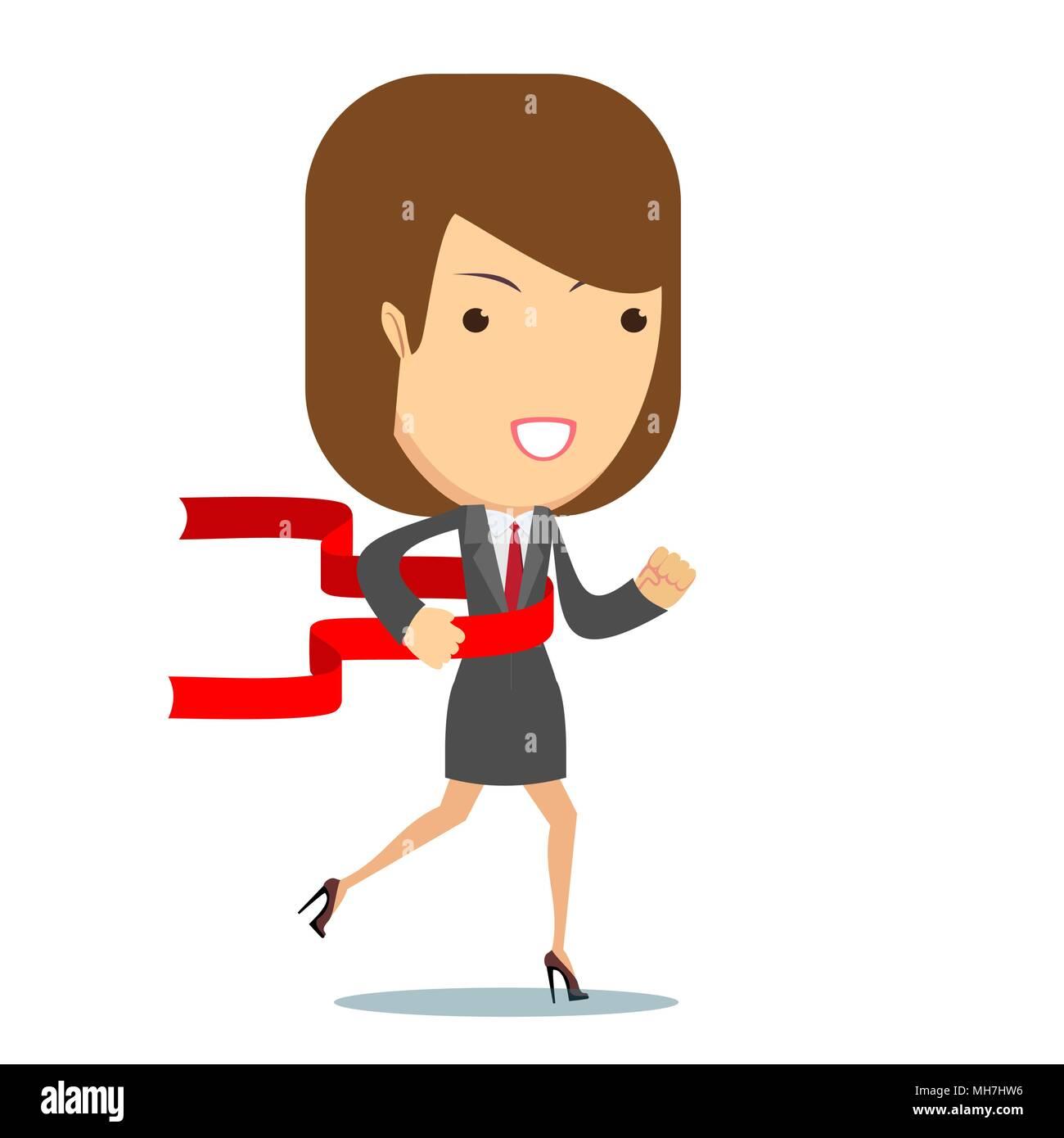 Notion de réussite businesswoman dans une chaîne de finition. Photo Stock