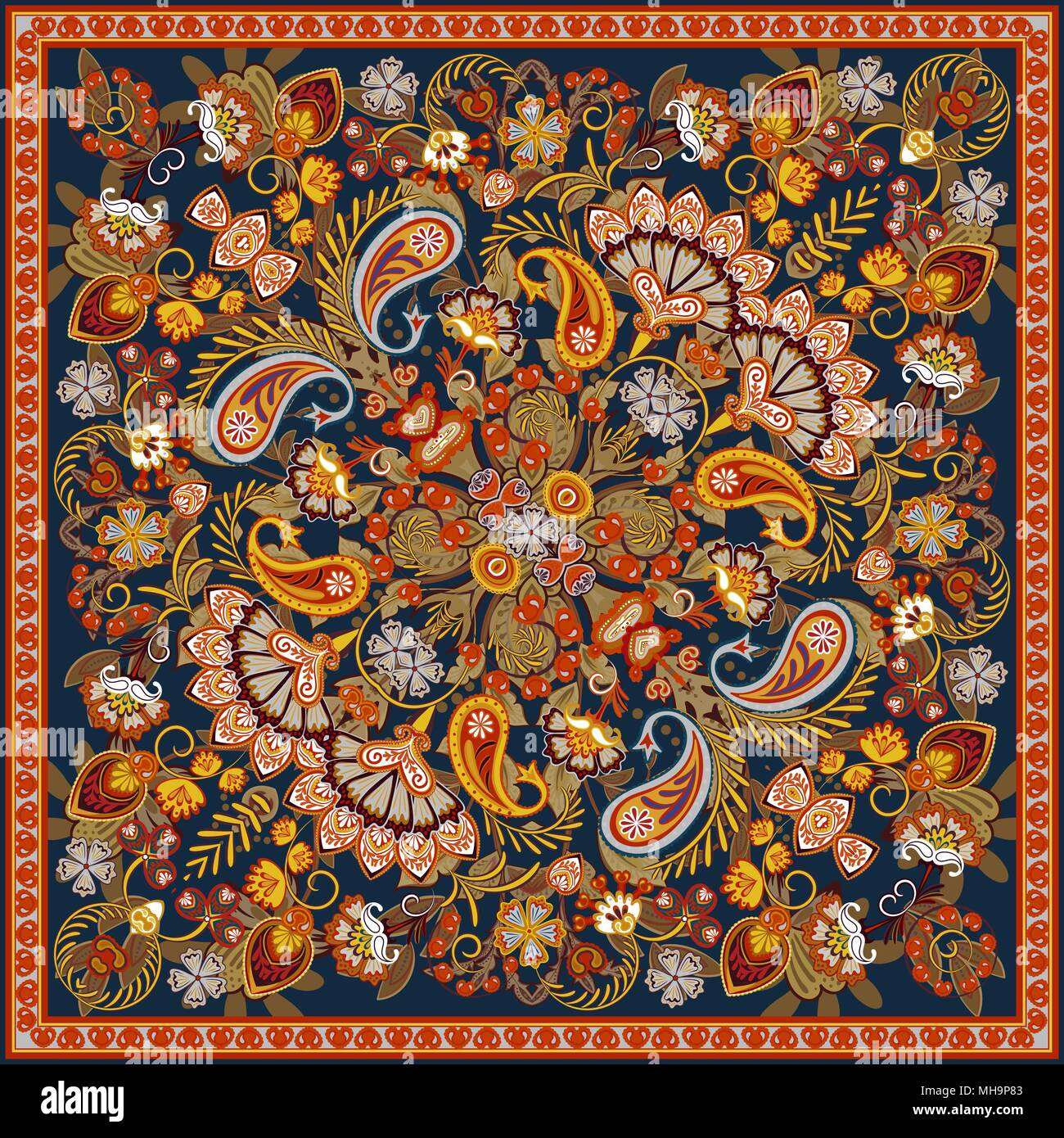Vector ornament paisley bandana foulard en soie, d impression ou du cou  foulard motif carré style design pour l impression sur tissu. Style Bandana  paisley c49b9e637e9
