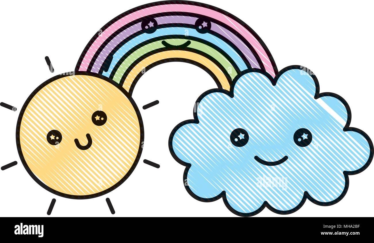 Arc En Ciel Nuages Soleil Happy Kawaii Cartoon Dessin Illustration