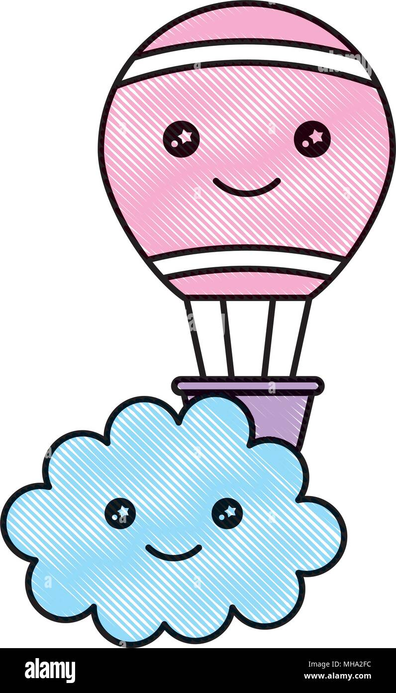 Nuage Kawaii Et Hot Air Balloon Caricature Dessin Illustration