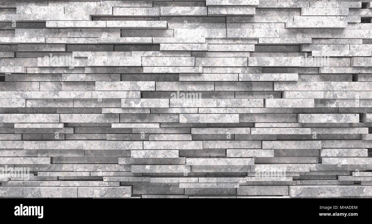 Décoration murale en pierre réaliste matériel rendu 3D Gros plan Photo Stock