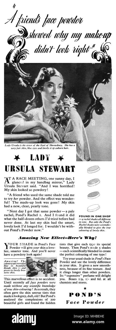 1938 La publicité pour l étang de la poudre sur le visage. Photo Stock d83462369ec