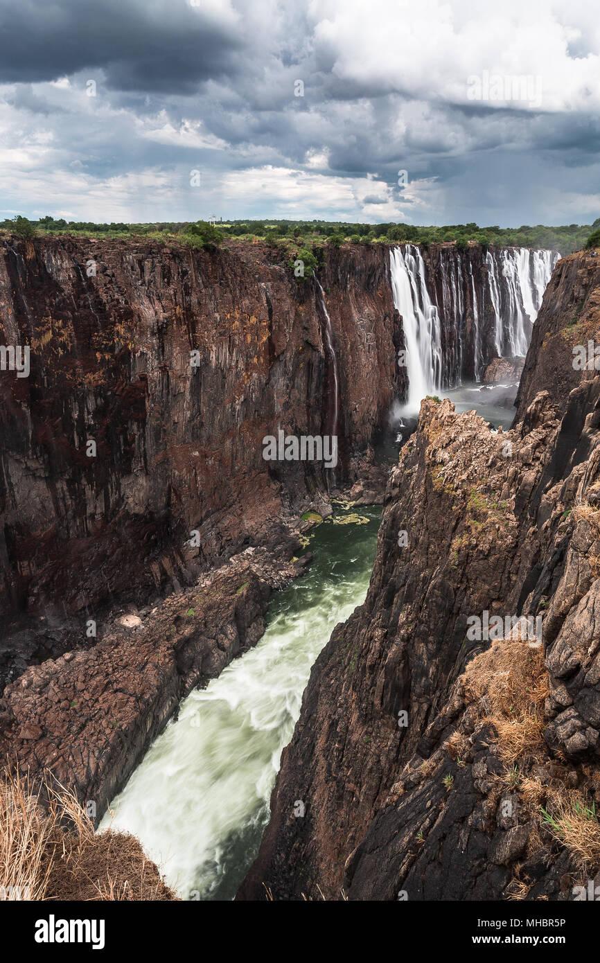 Victoria Falls, Zimbabwe, Ciel Nuages Photo Stock