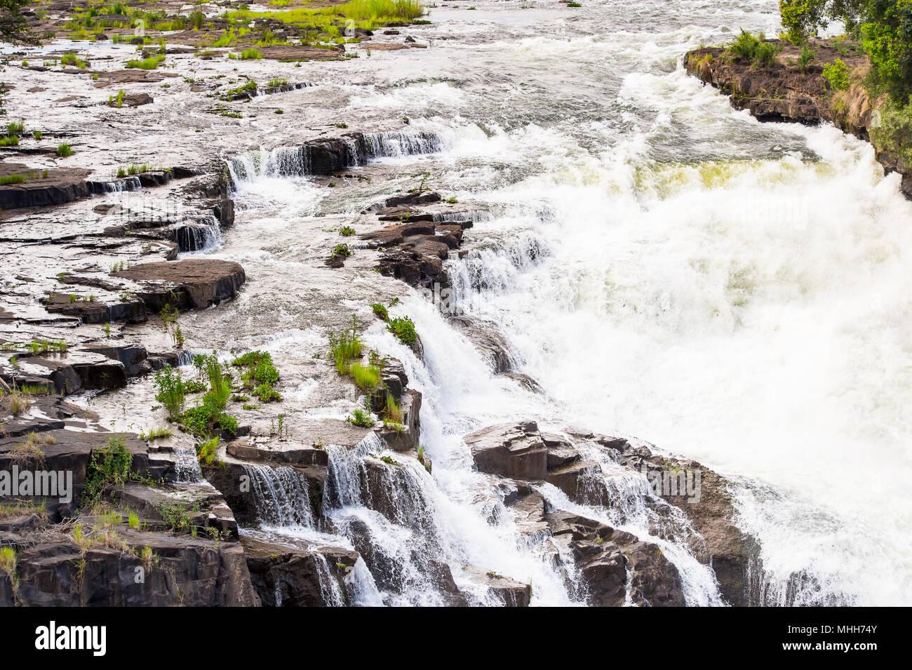 Victoria Falls, fleuve Zambèze, le Zimbabwe et la Zambie Photo Stock