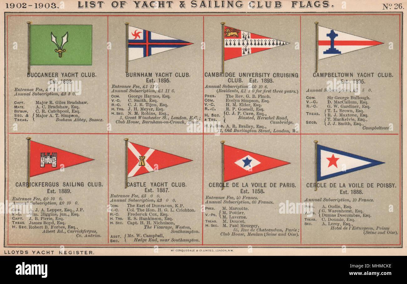 CLUB DE VOILE YACHT & DRAPEAUX B-C. Buccaneer à Cercle de la Voile de Poissy 1902 Banque D'Images