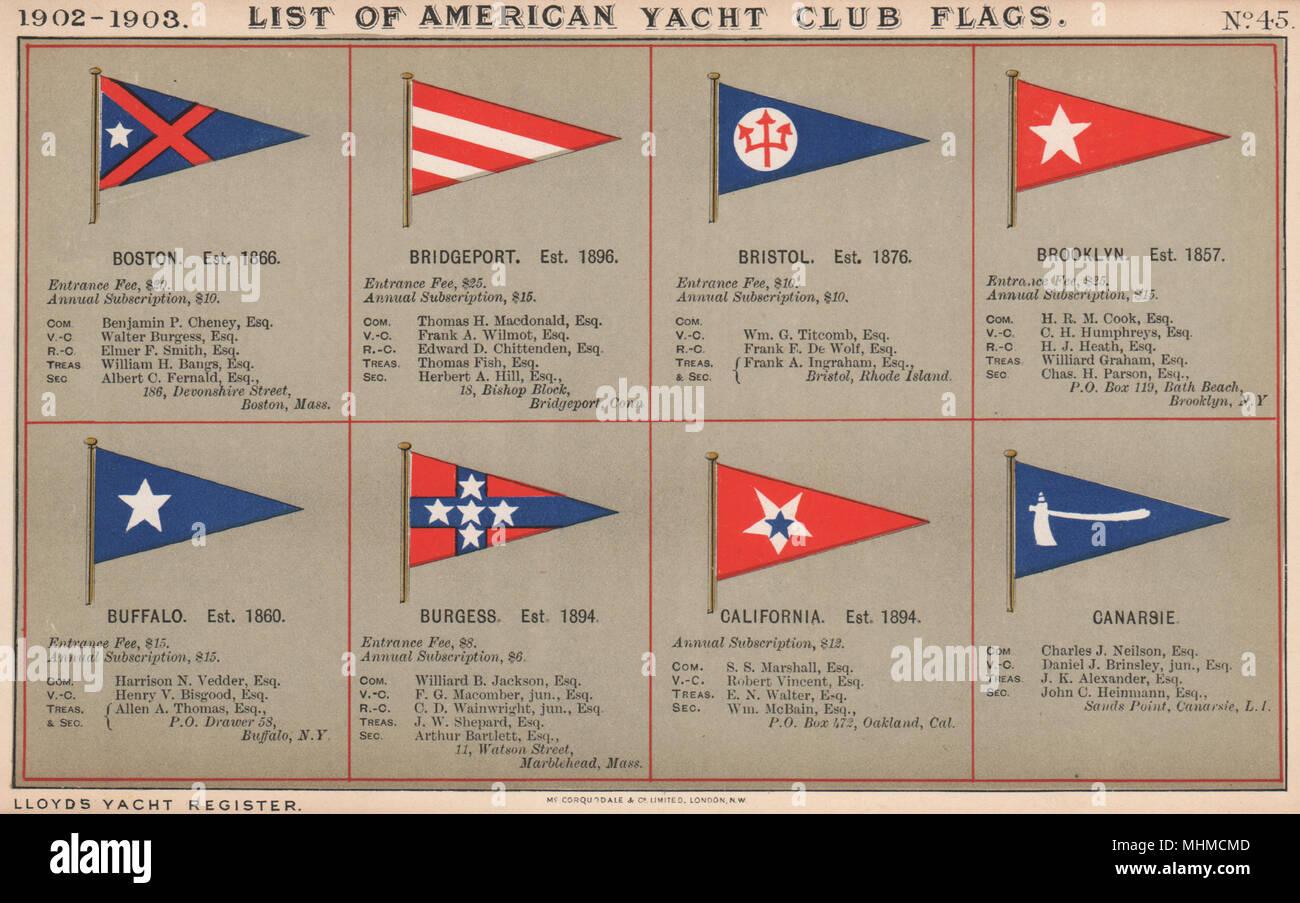 YACHT CLUB NOUS DRAPEAUX B-C. Boston Bristol Brooklyn Californie 1902 Bridgeport Banque D'Images