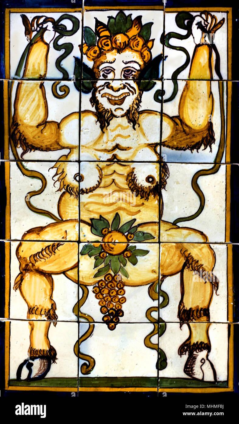 Pan Ou Silène 1650 1675 18e Siècle Azulejo Portugais