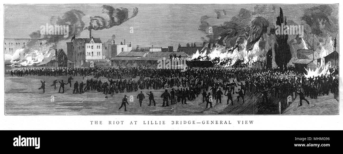 Épave émeutiers Lillie Bridge Sports sol lors de la course du prix s'appelle off - le stade en feu Date: 1887 Photo Stock