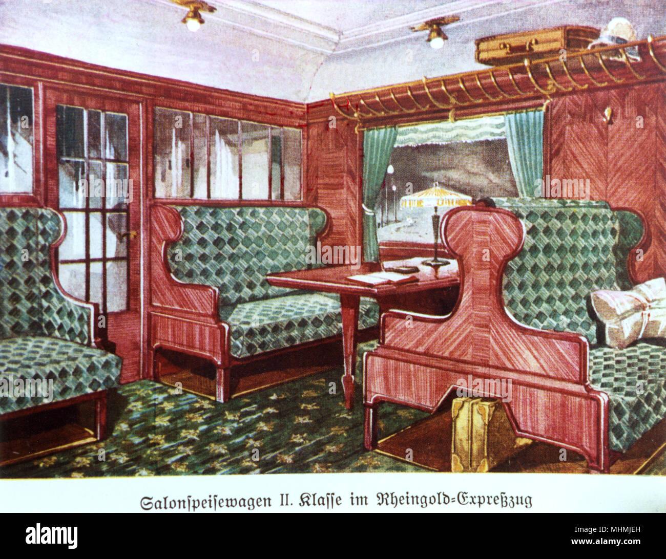 intrieur somptueux de la rheingold train express 2e classe date 1930