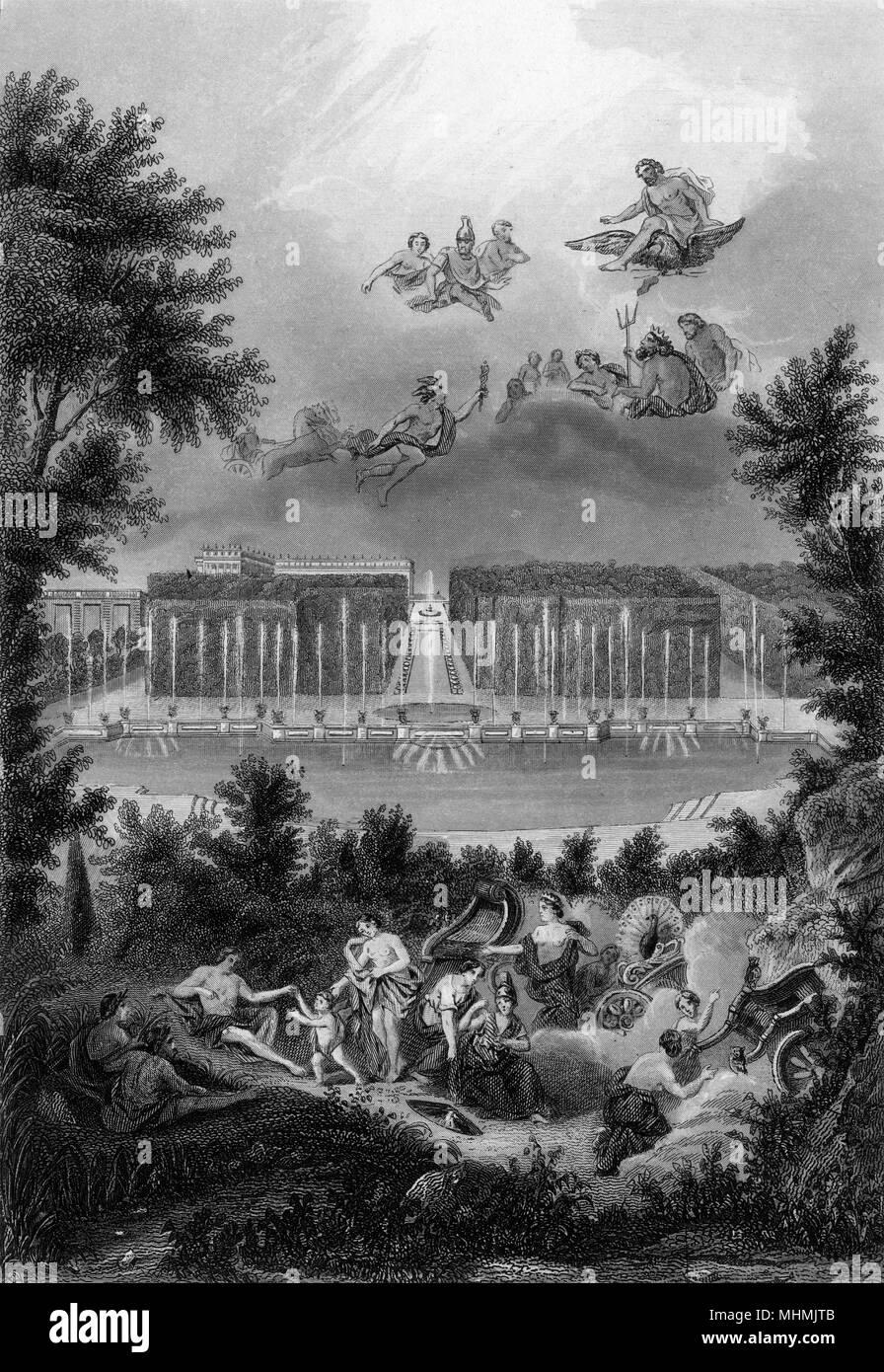 BASSIN DE NEPTUNE figures mythologiques puissions folâtrer autour de la piscine, mais ils se cachent lorsque Louis et ses courtisans sortir du palais pour l'air frais Date: 1688 Photo Stock