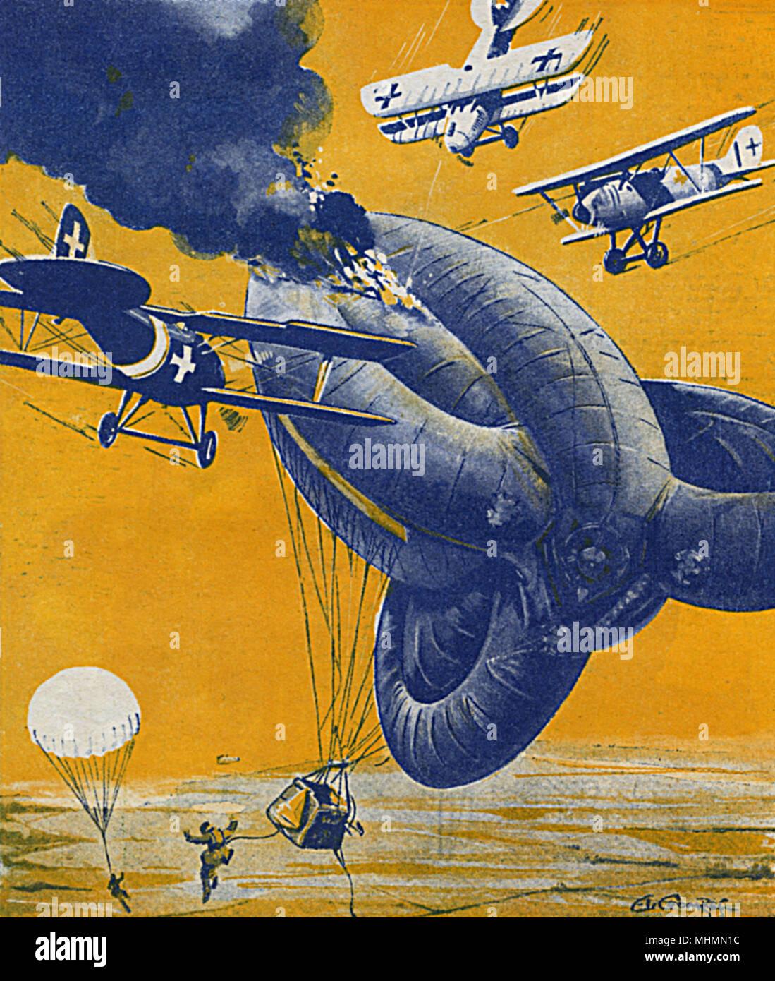 """""""Le temps d'une """"saucisse"""""""". Un ballon d'observation britannique est abattu par des avions ennemis durant la Première Guerre mondiale. Les occupants de son panier a sauté à la sécurité d'espoir avec leurs ballons, appelés glands en raison de leur forme lorsqu'il est déplié et suspendues sur le bord du panier. Date: 1932 Banque D'Images"""