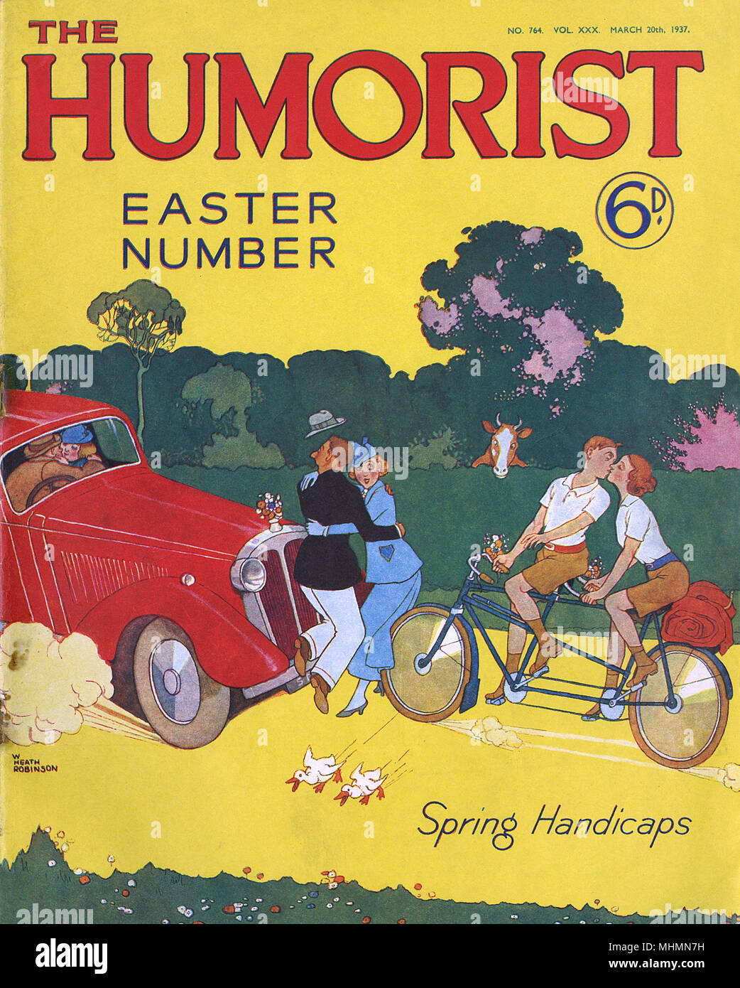 Handicaps du printemps. Couverture du magazine l'humoriste doté d''une superbe caricature de William Heath Robinson montrant le chaos créé sur les routes par des romances de printemps. Date: 1937 Photo Stock
