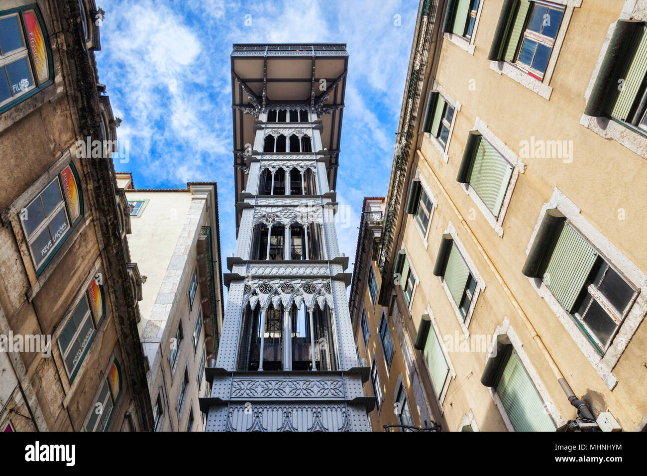 27 Février 2018: Lisbonne, Portugal - ascenseur de Santa Justa, ou l'ascenseur. Photo Stock