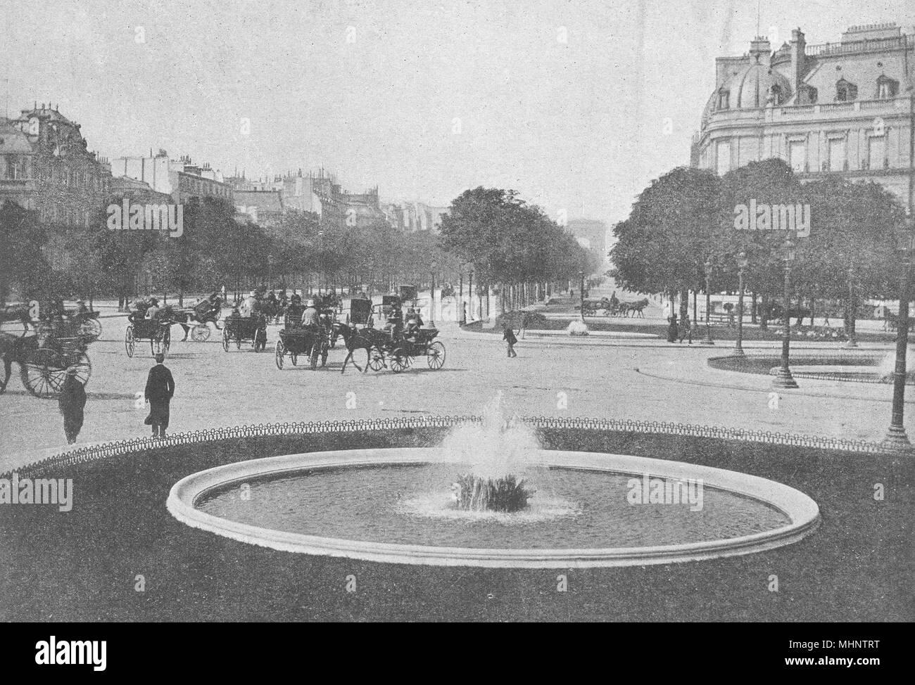 PARIS. Rond-point des Champs- Elysées 1895 ancienne vintage print photo Photo Stock