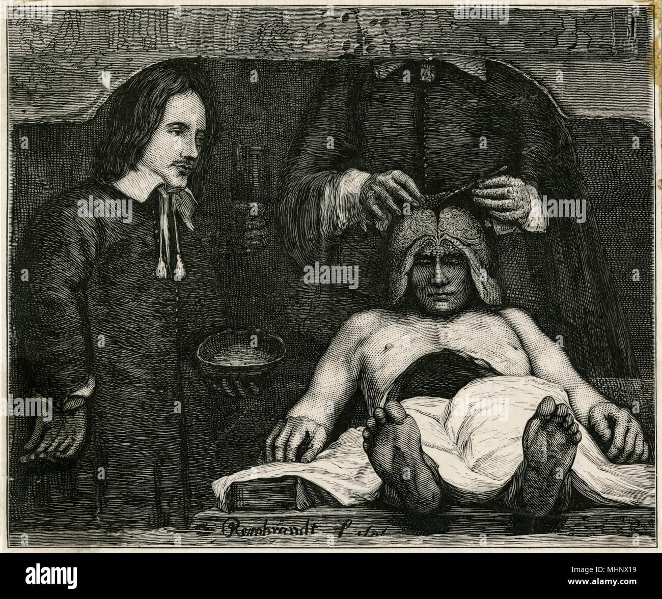 Gravure d'après une peinture de Rembrandt, montrant un médecin regarder en détail du cerveau de la personne décédée. Photo Stock