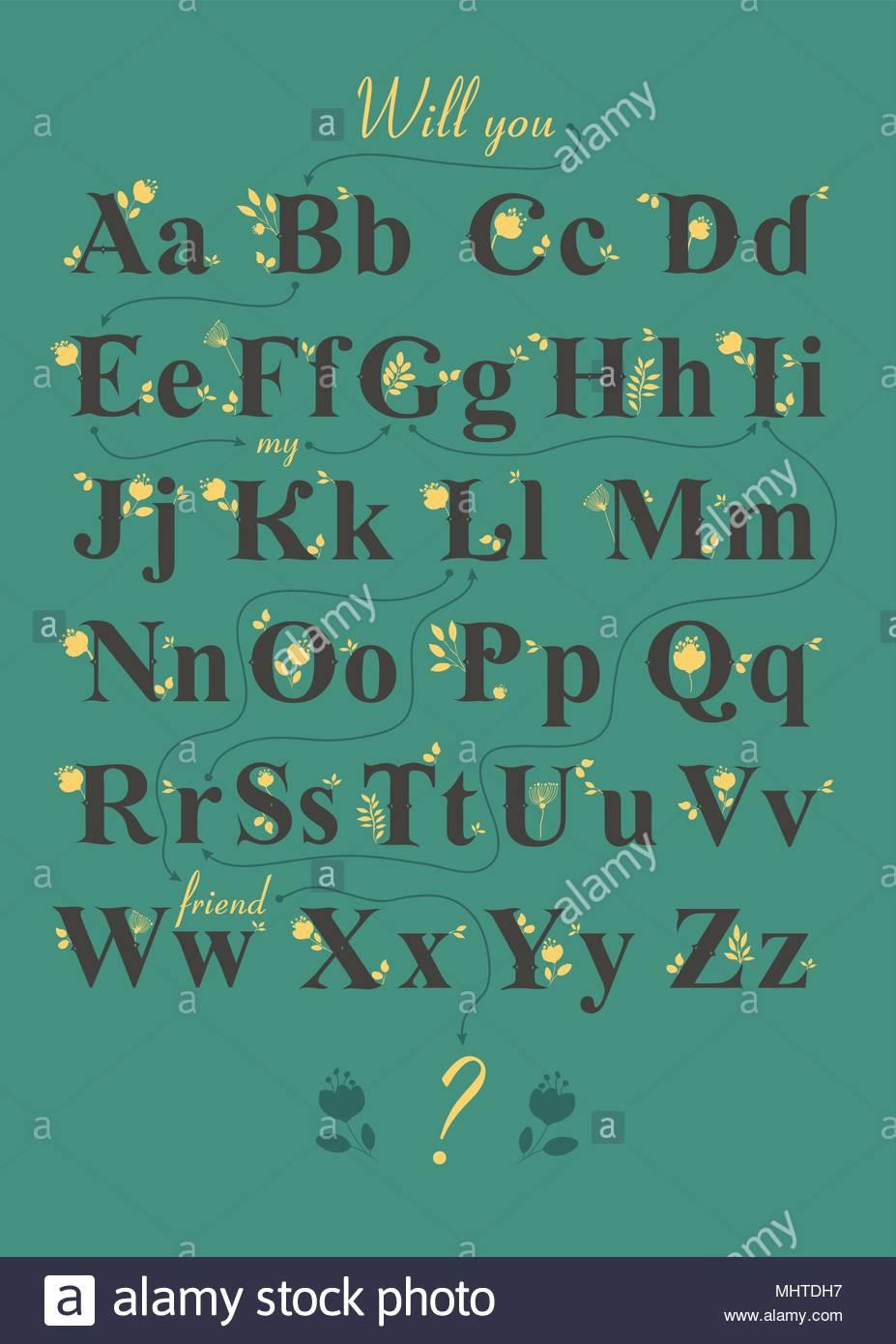 Alphabet Artistique avec l'alphabet artistique romantique crypté message va vous être