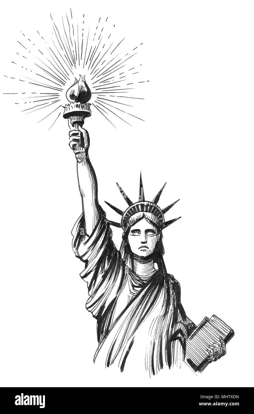 Dessin Noir Et Blanc Encre De Statue De La Liberte Illustration
