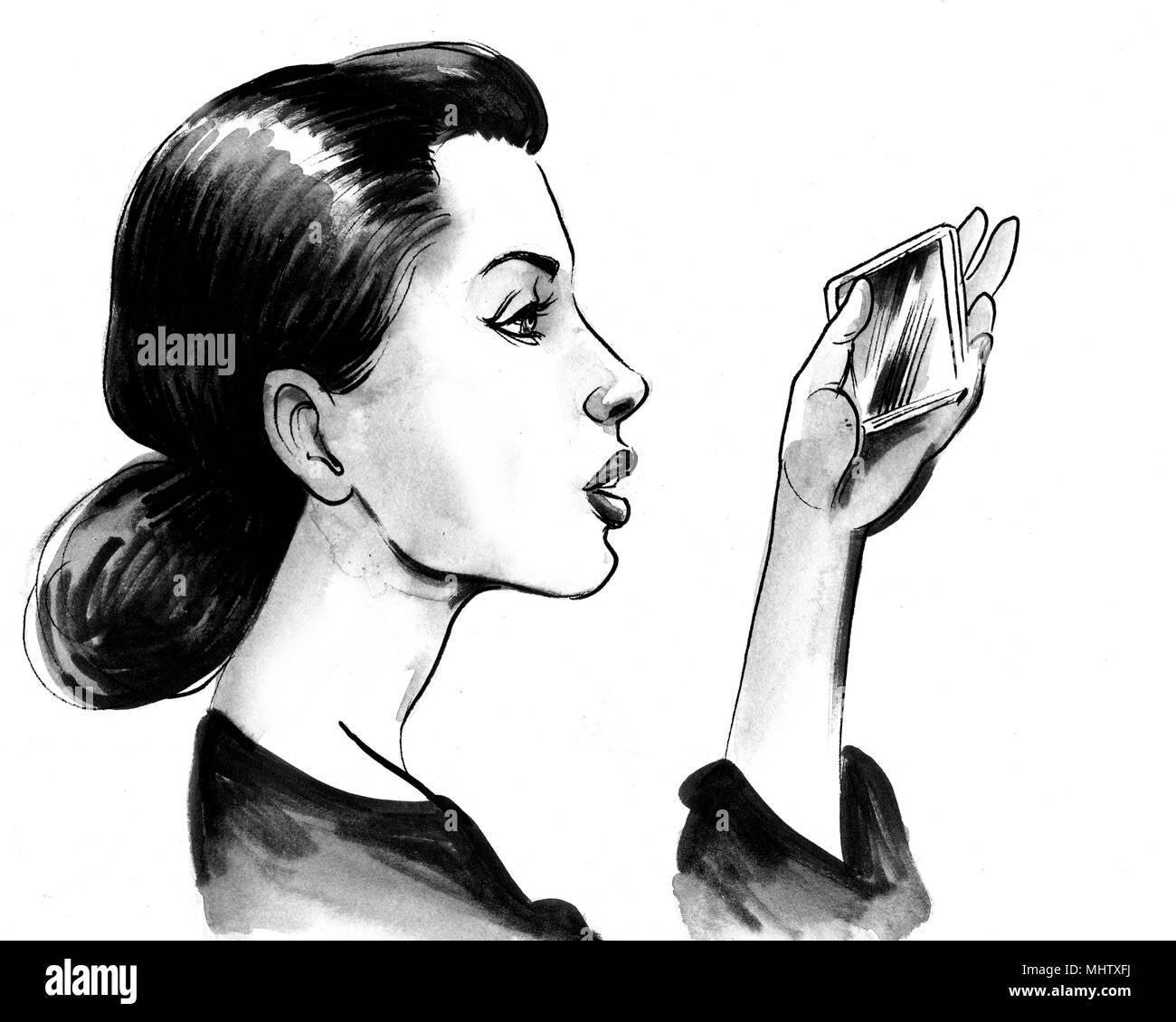 Jolie Fille à La Recherche De Miroir Dessin Noir Et Blanc