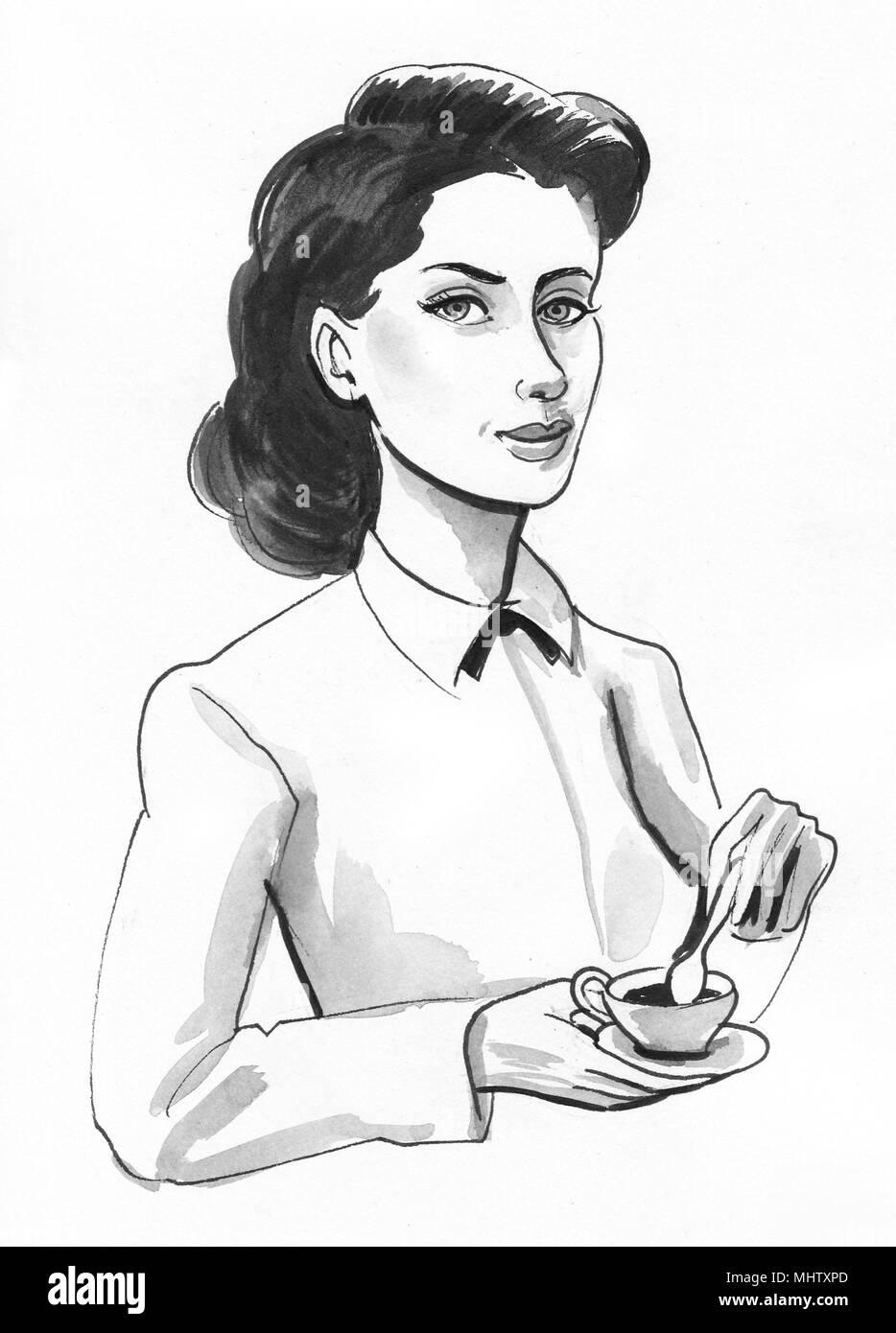 jolie femme avec une tasse de caf dessin noir et blanc encre banque d 39 images photo stock. Black Bedroom Furniture Sets. Home Design Ideas