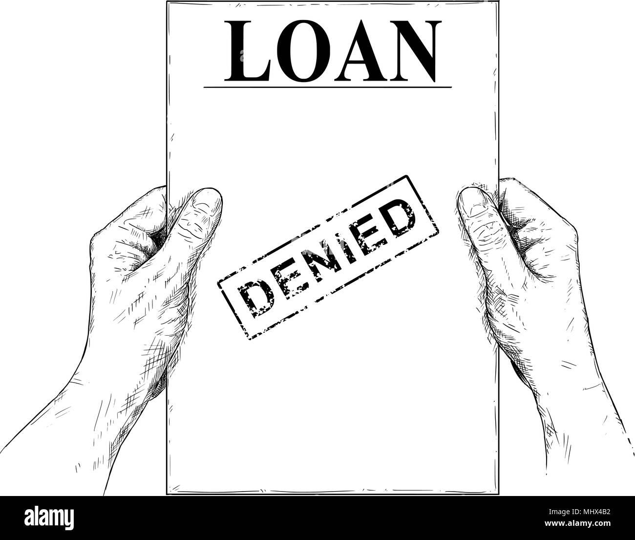 Vector illustration artistique ou un dessin de mains tenant le document de demande de prêt refusée Photo Stock