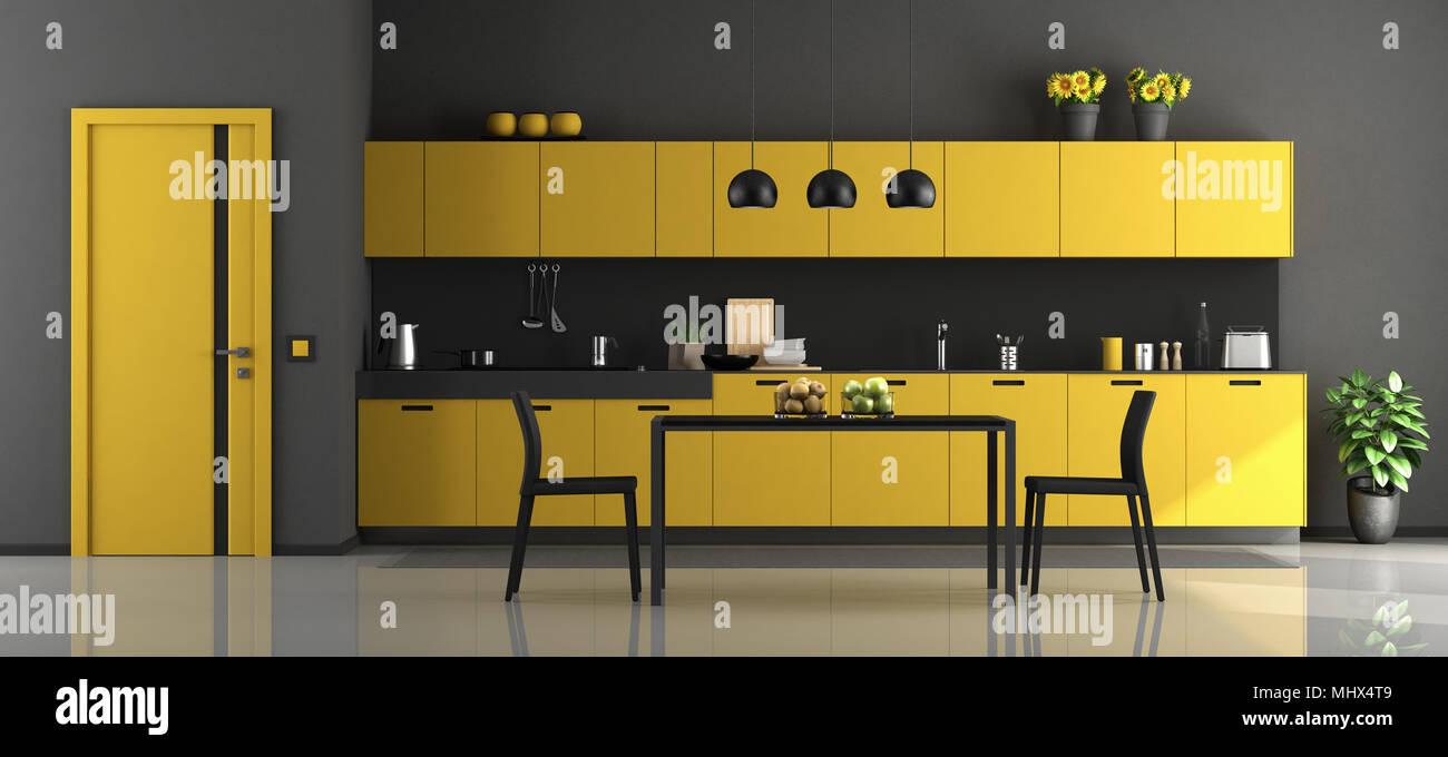 Cuisine moderne noir et jaune avec table à manger et chaises - 3D ...