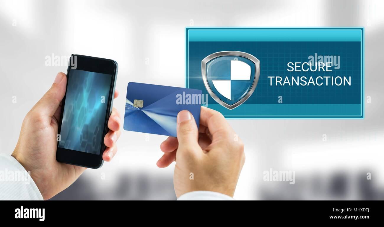Carte Bancaire Sur Telephone.Transaction Securisee Icone De Bouclier Et Telephone Avec Carte