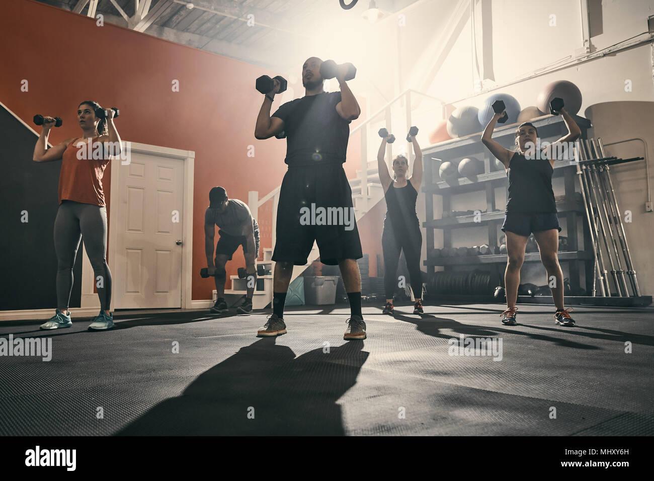 L'homme à l'aide d'haltères en salle de sport Photo Stock