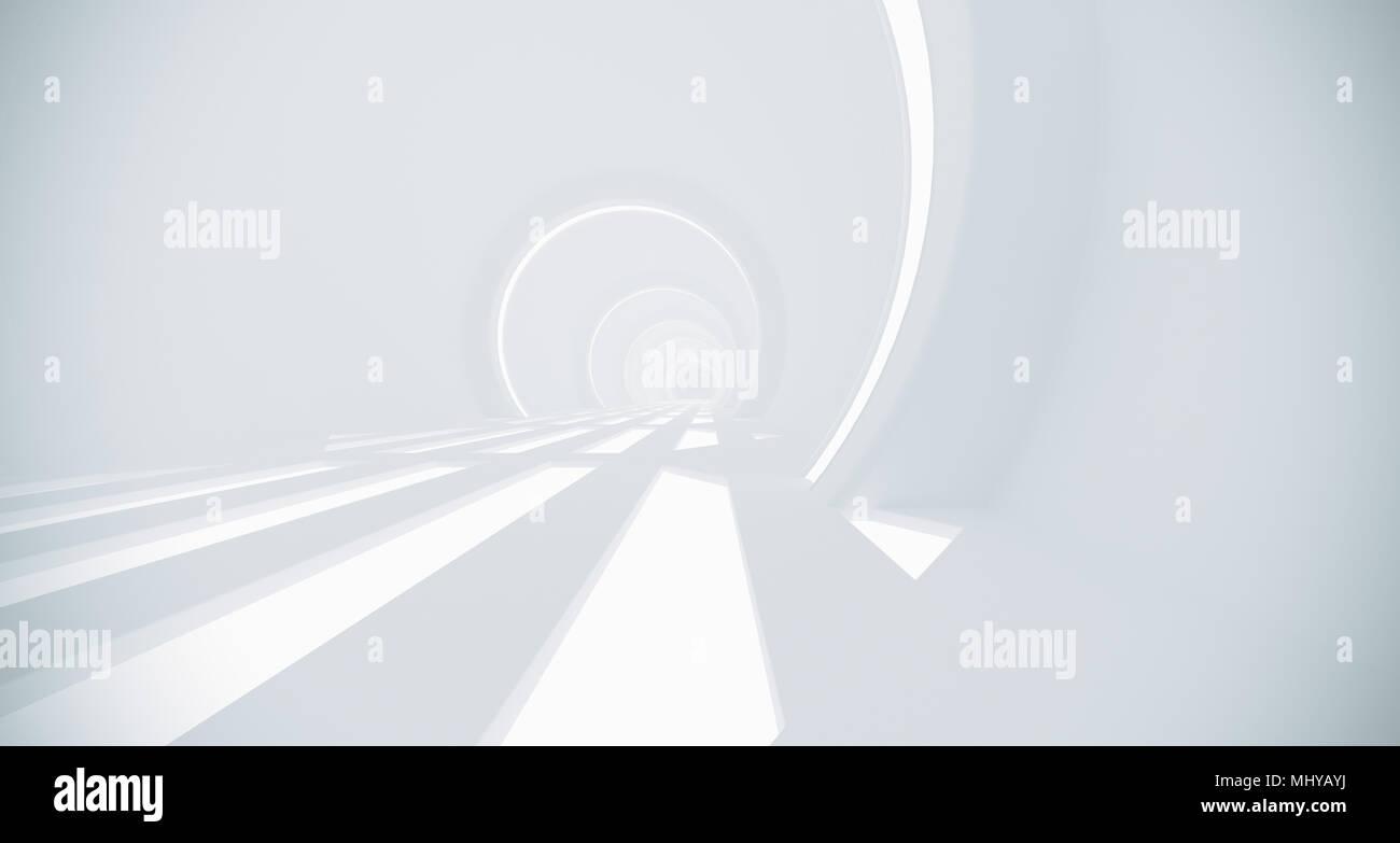 De Rendu 3D réaliste, Corridor Science-fiction avec maille de grille phares sur marbre Photo Stock