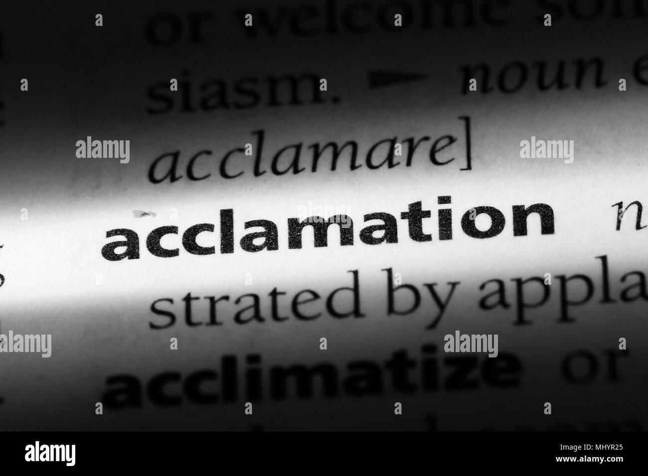 Acclamation mot dans un dictionnaire. acclamation concept. Photo Stock