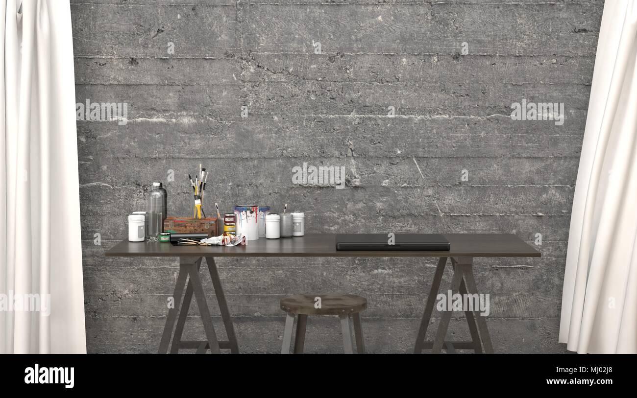 Hipster moderne bureau ou studio design intérieur avec des murs de