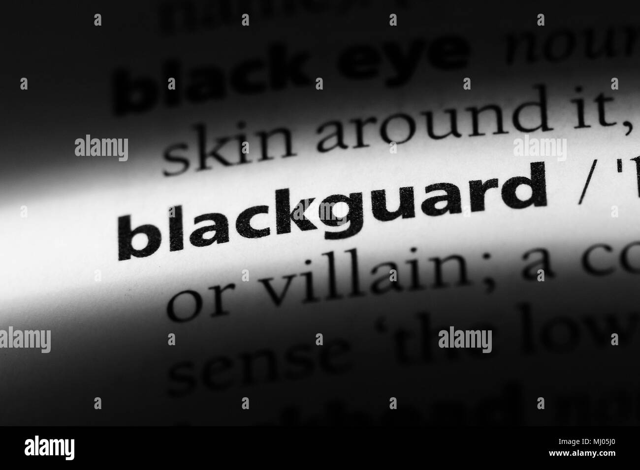 Blackguard mot dans un dictionnaire. blackguard concept. Photo Stock