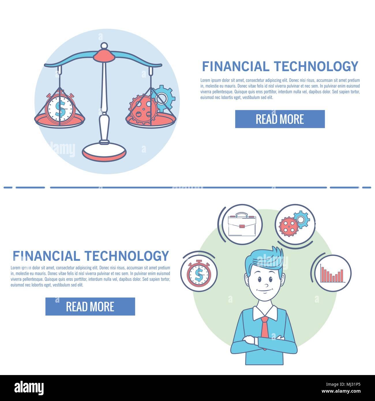 La technologie financière infographie Photo Stock