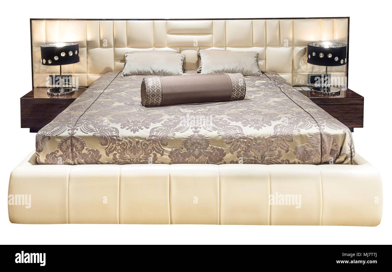 Lit de luxe moderne avec mobilier beige à motifs lit avec ...