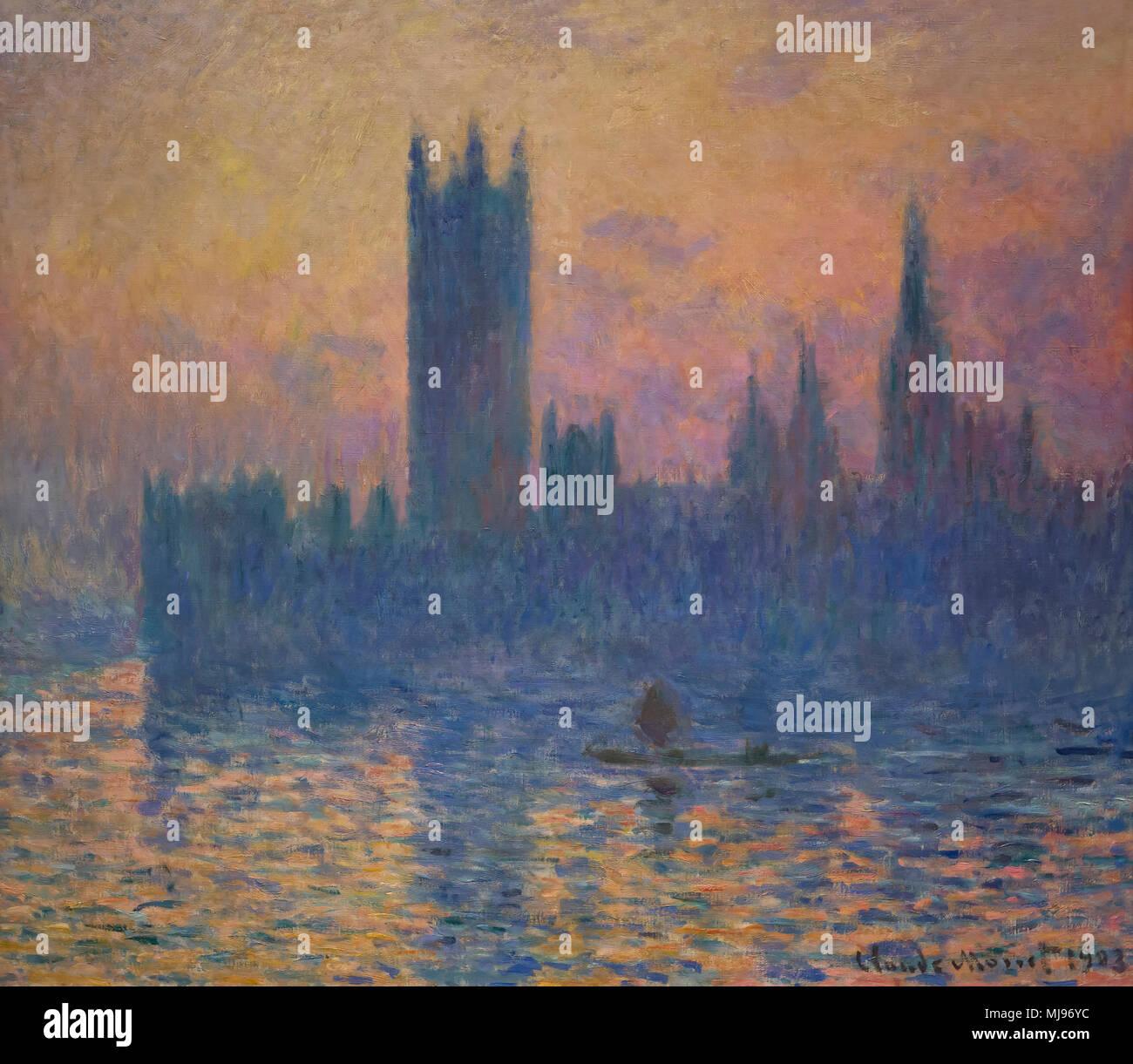Chambres du Parlement, Coucher de soleil, Claude Monet, 1903, National Gallery of Art, Washington DC, USA, Amérique du Nord Banque D'Images