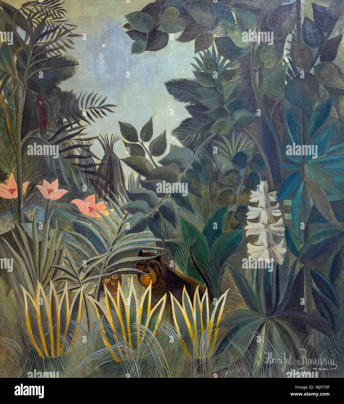 La Jungle équatoriale, Henri Rousseau, 1909, National Gallery of Art, Washington DC, USA, Amérique du Nord Photo Stock