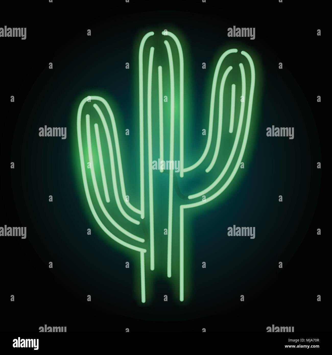 Un Tube Neon Lumineux Cactus Lumineuses Vector Illustration En