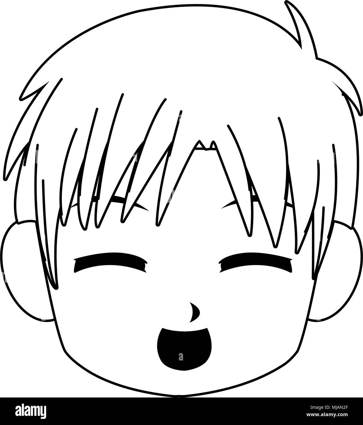Manga Boy Visage Dessin Animé Sur Les Couleurs Noir Et Blanc