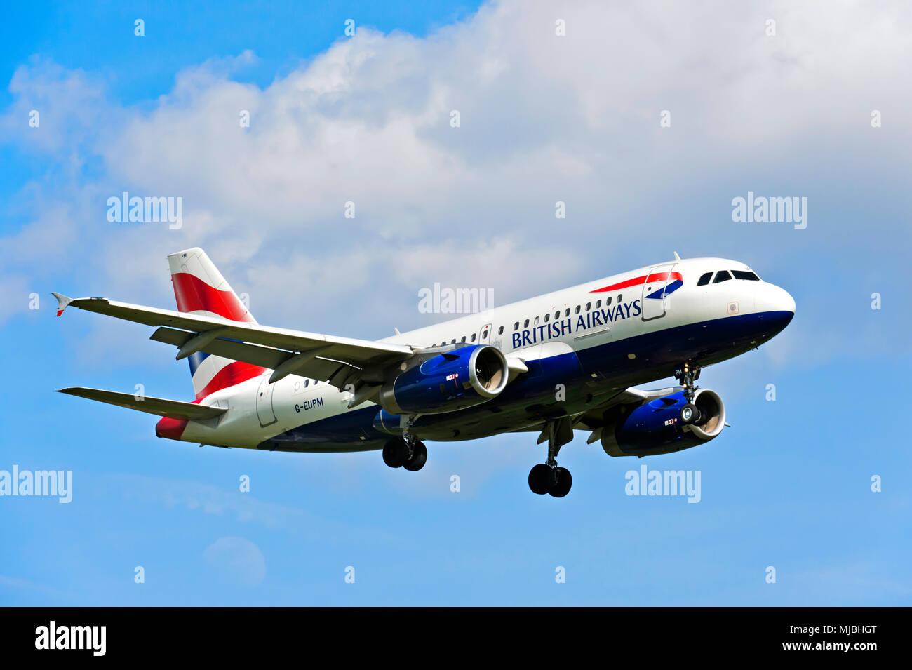 British Airways Airbus A319-131 G-MPUE, Grande-Bretagne Photo Stock