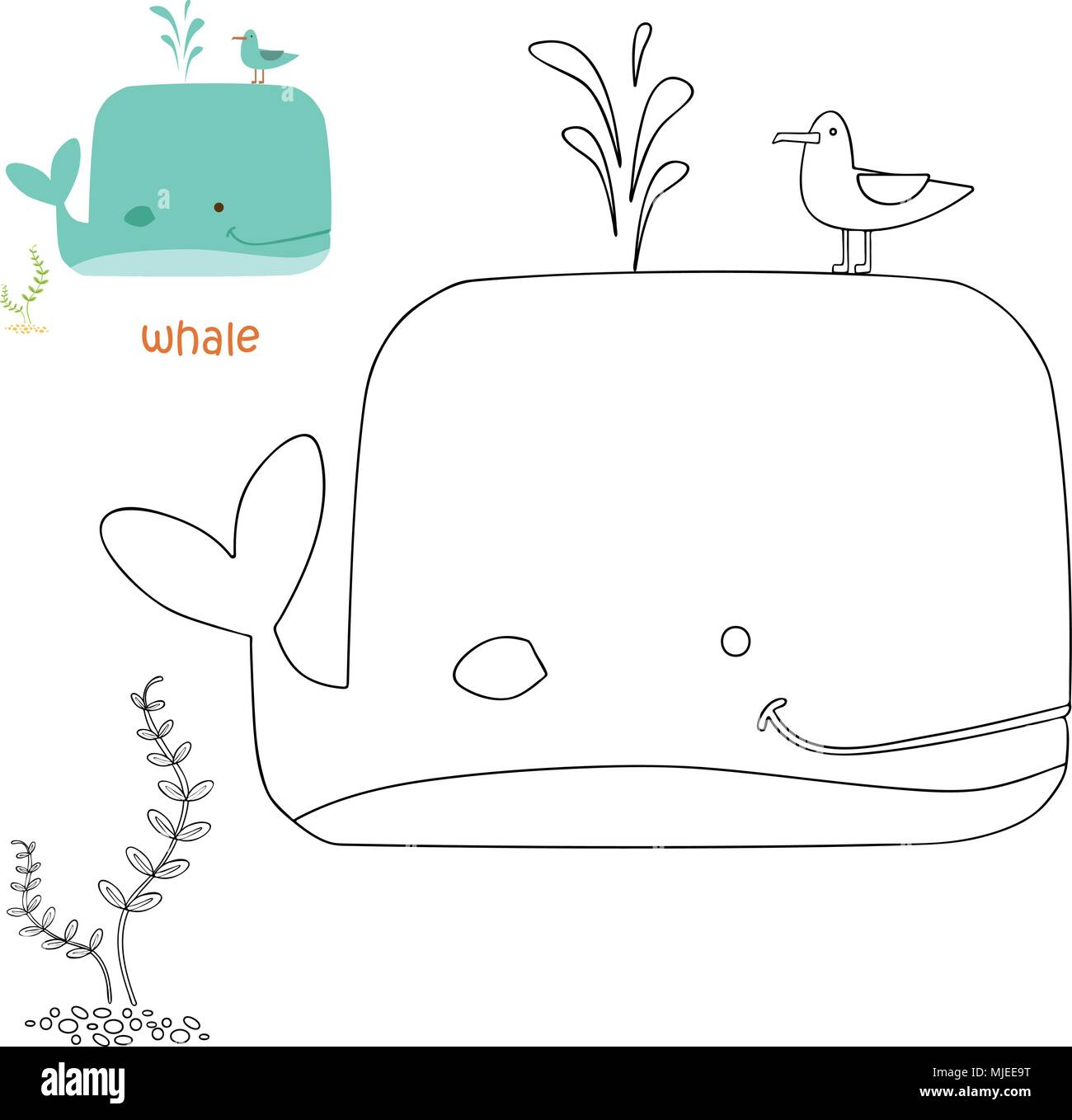 Kids coloriages - whale Photo Stock