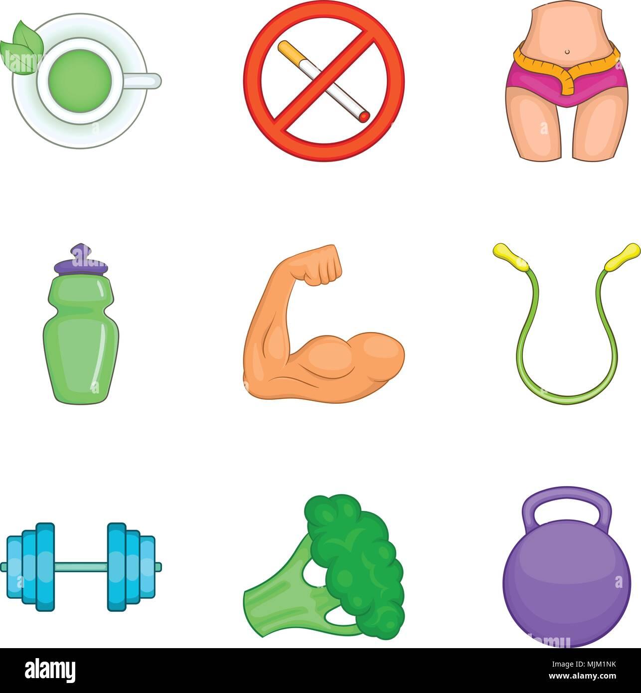 De santé robuste, cartoon style icons set Photo Stock