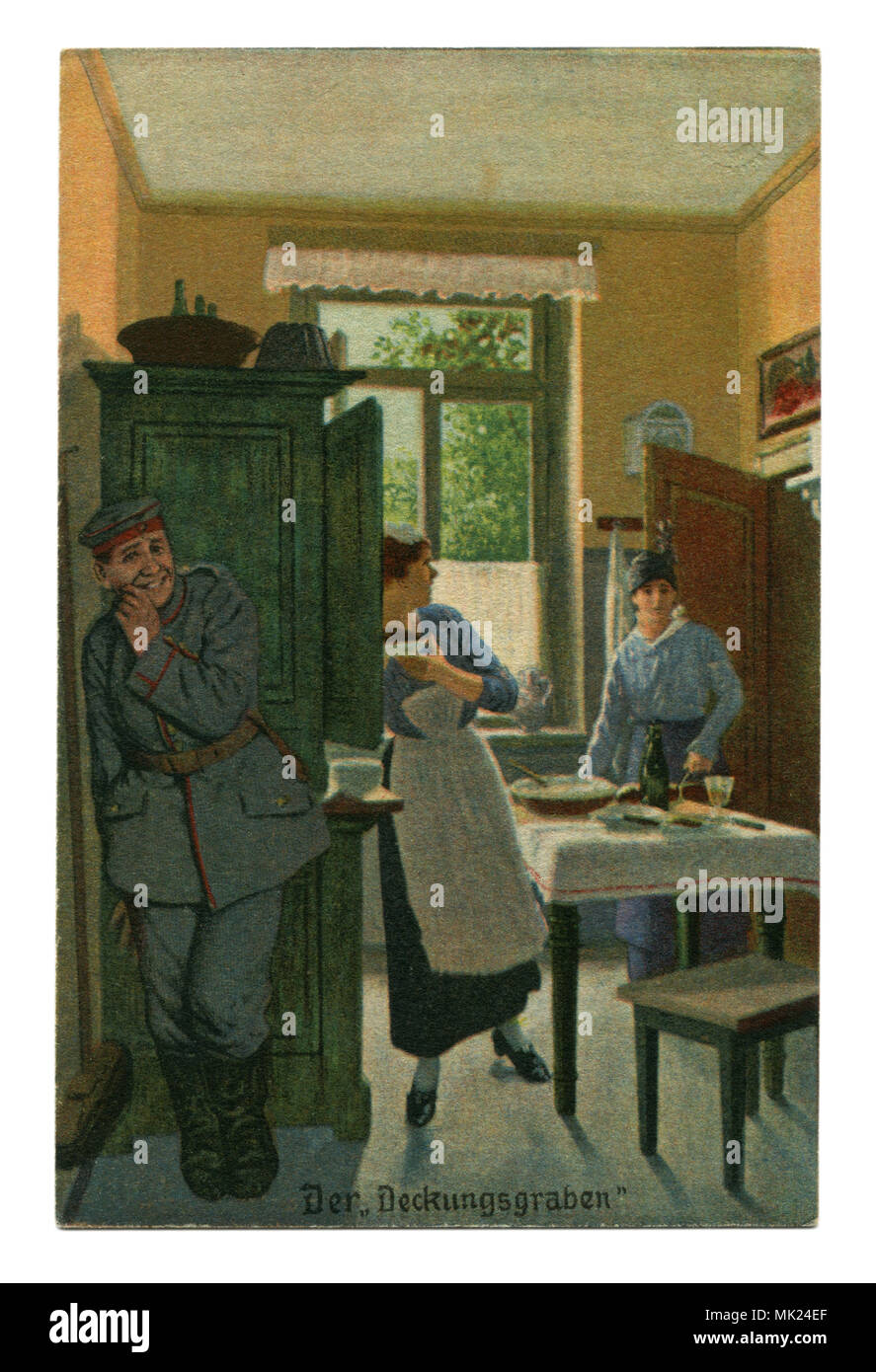 Ancienne carte postale militaire allemand:-série humoristique 'Toujours' professionnel, № 6 'tranchée'. La première guerre mondiale 1914-1918, Allemagne Banque D'Images