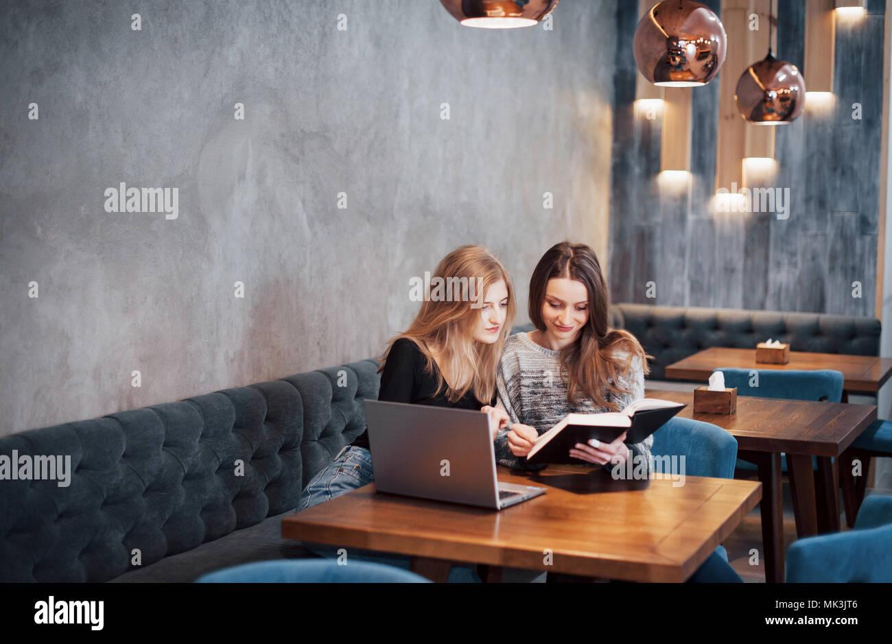 Une rencontre individuelle.Deux jeunes femmes d'affaires sitting at table in cafe.Fille révèle collègue informations sur un écran d'ordinateur portable.rencontrer des amis, dîner en famille.Le travail d'équipe, réunion d'affaires. Pigistes travaillant Photo Stock