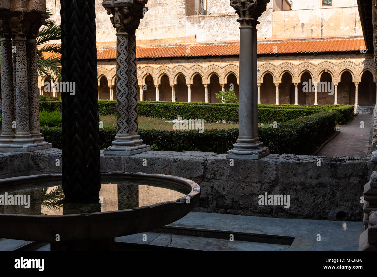 Cloître de Monreale, Sicile, Italie Photo Stock