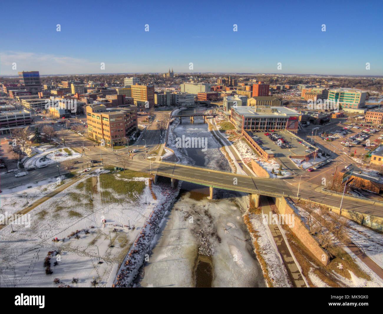 Le centre-ville de Sioux Falls, Dakota du Sud pendant l hiver par Drone 160997ef1b4