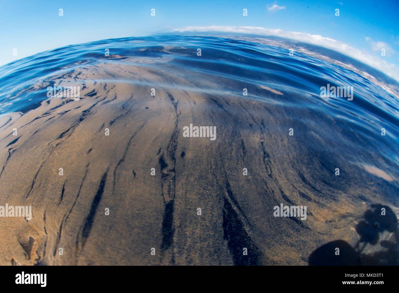 Trichodesmium, également appelé sea sciure (Trichodesmium erythraeumla). Il apparaît massivement dans la surface, le temps de la chaleur. C'est un processus naturel. Tenerife, Canaries. Banque D'Images