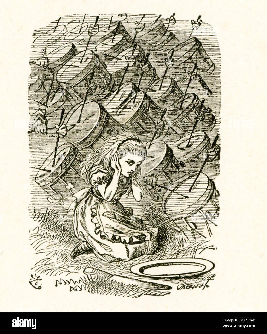 """Cette illustration avec Alice couvrant ses oreilles pour la batterie est dans de l'autre côté de 'et ce qu'Alice a trouvé là' par Lewis Carroll (Charles Lutwidge Dodgson), qui a écrit ce roman en 1871 comme une suite de 'Alice's Adventures in Wonderland"""". Photo Stock"""