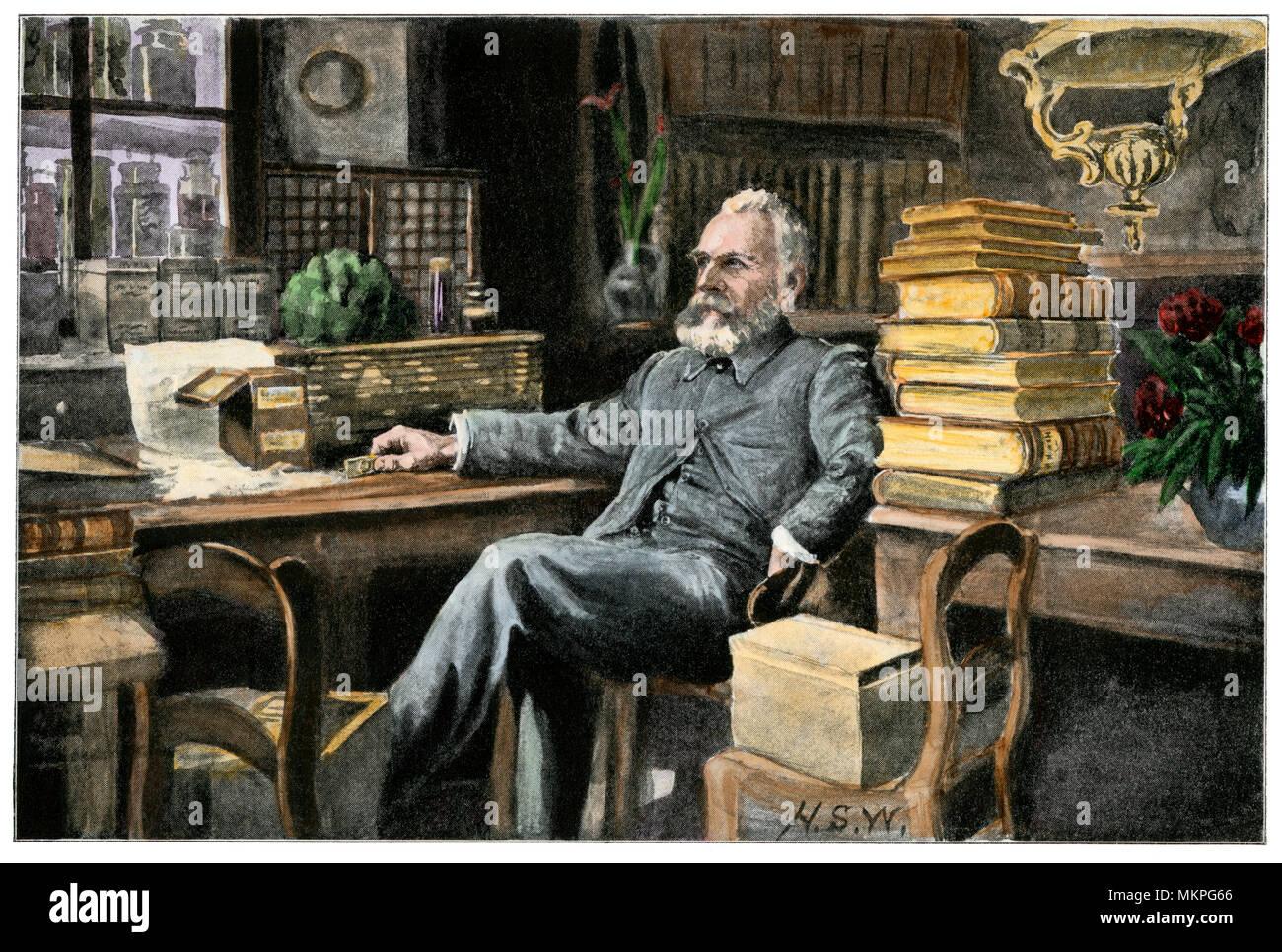 Le professeur Ernest Haeckel dans son étude, l'Université de Jena, Allemagne. Demi-teinte de couleur à la main Photo Stock